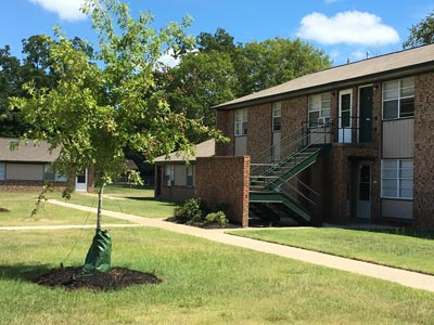 brick exterior of apartment building with green grass and tree